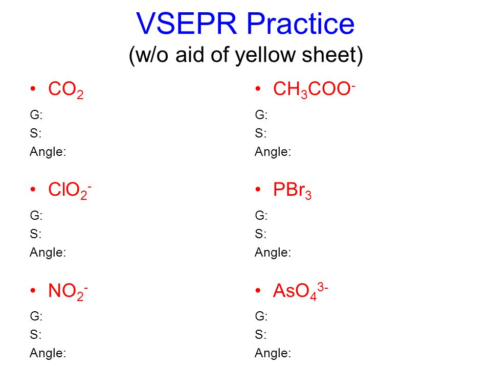 VSEPR Practice (w/o aid of yellow sheet)
