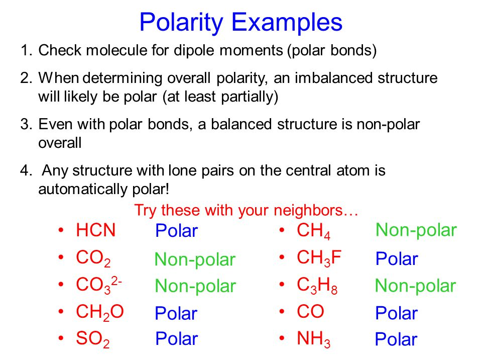 Polarity Examples HCN CO2 CO32- CH2O SO2 Polar CH4 CH3F C3H8 CO NH3