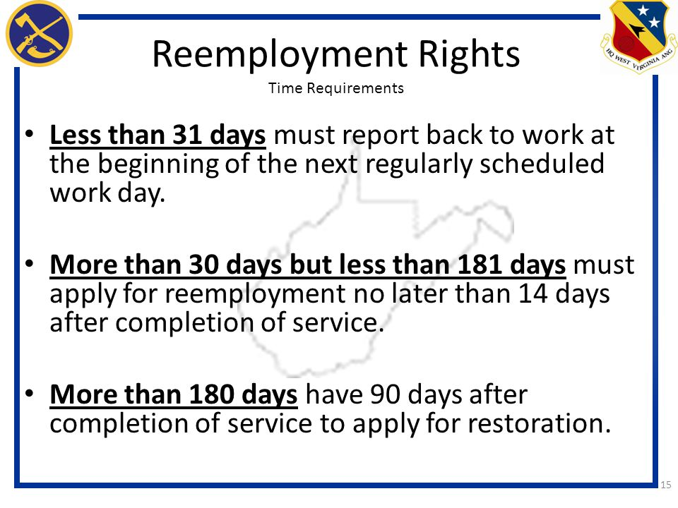 Reemployment Rights Time Requirements