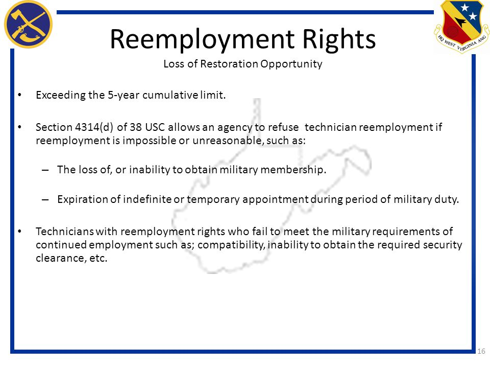 Reemployment Rights Loss of Restoration Opportunity