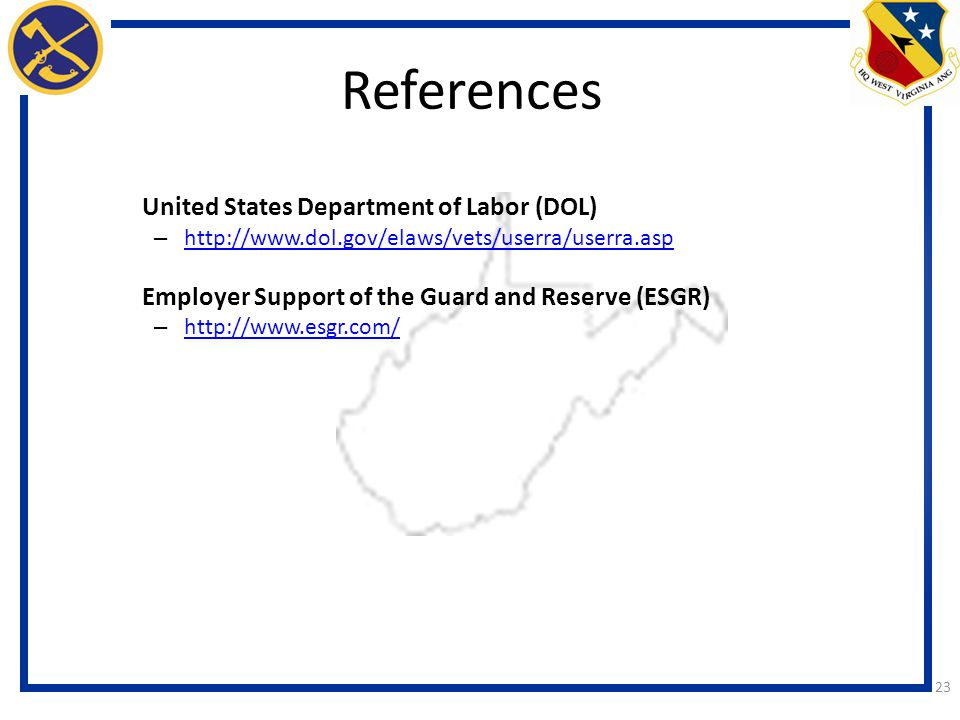 References Employer Support of the Guard and Reserve (ESGR)