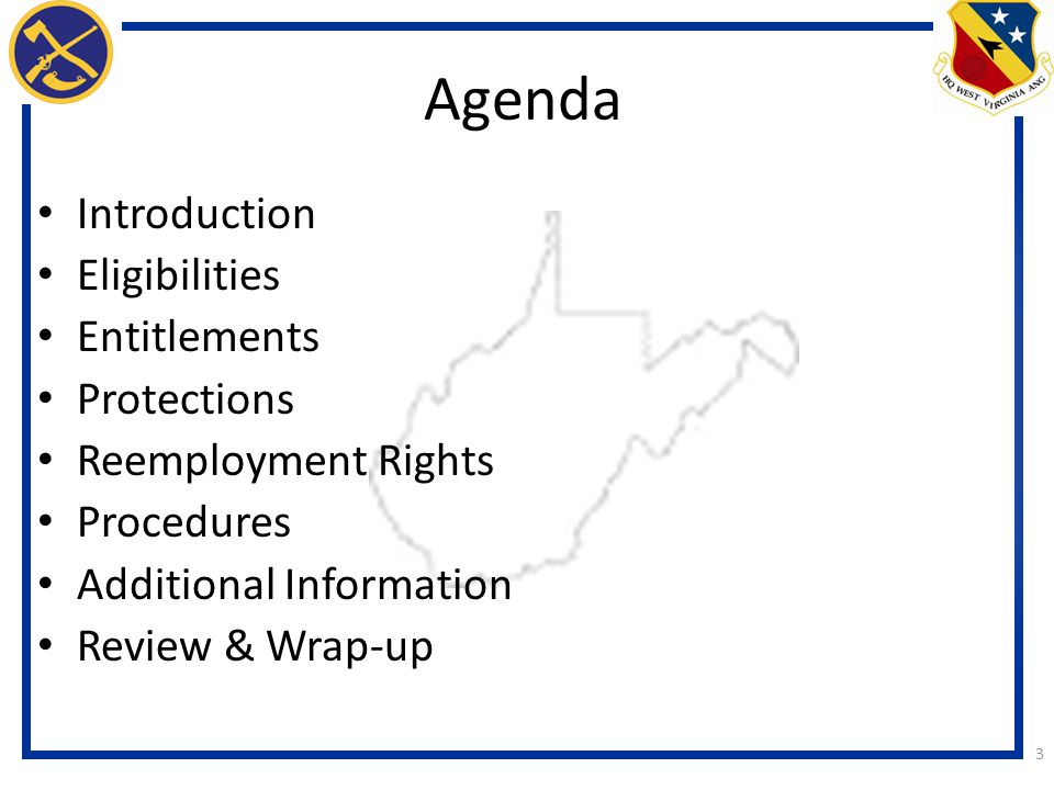 Agenda Introduction Eligibilities Entitlements Protections