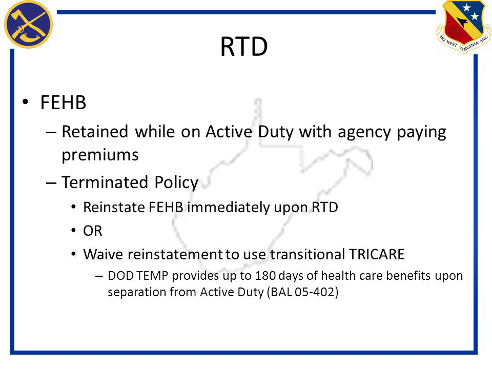 RTD FEHB Retained while on Active Duty with agency paying premiums