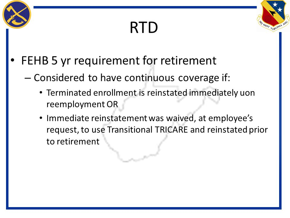 RTD FEHB 5 yr requirement for retirement