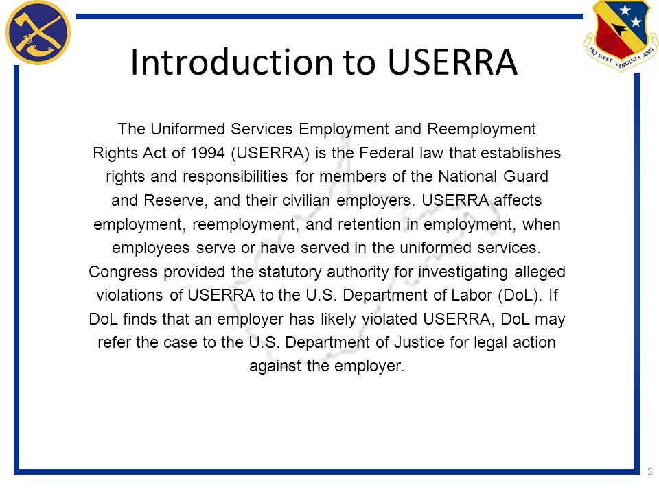 Introduction to USERRA
