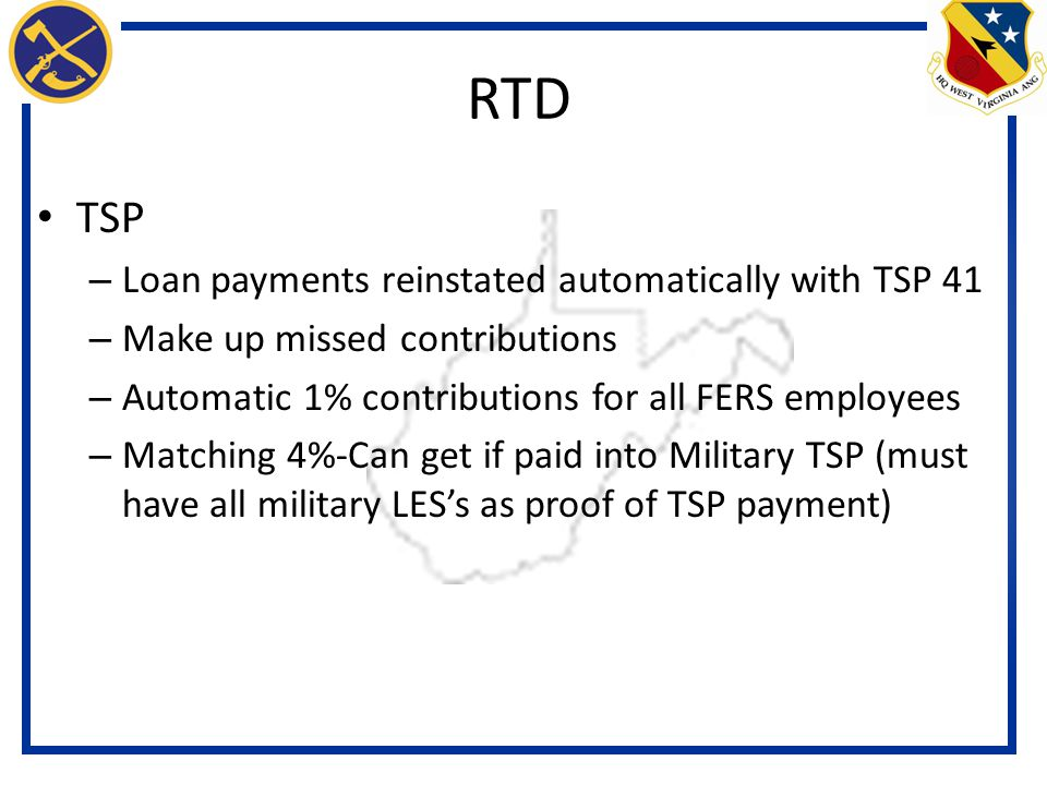 RTD TSP Loan payments reinstated automatically with TSP 41