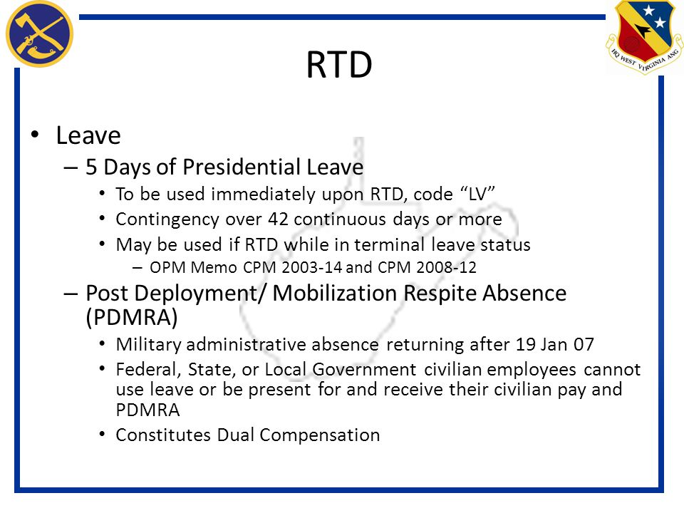 RTD Leave 5 Days of Presidential Leave