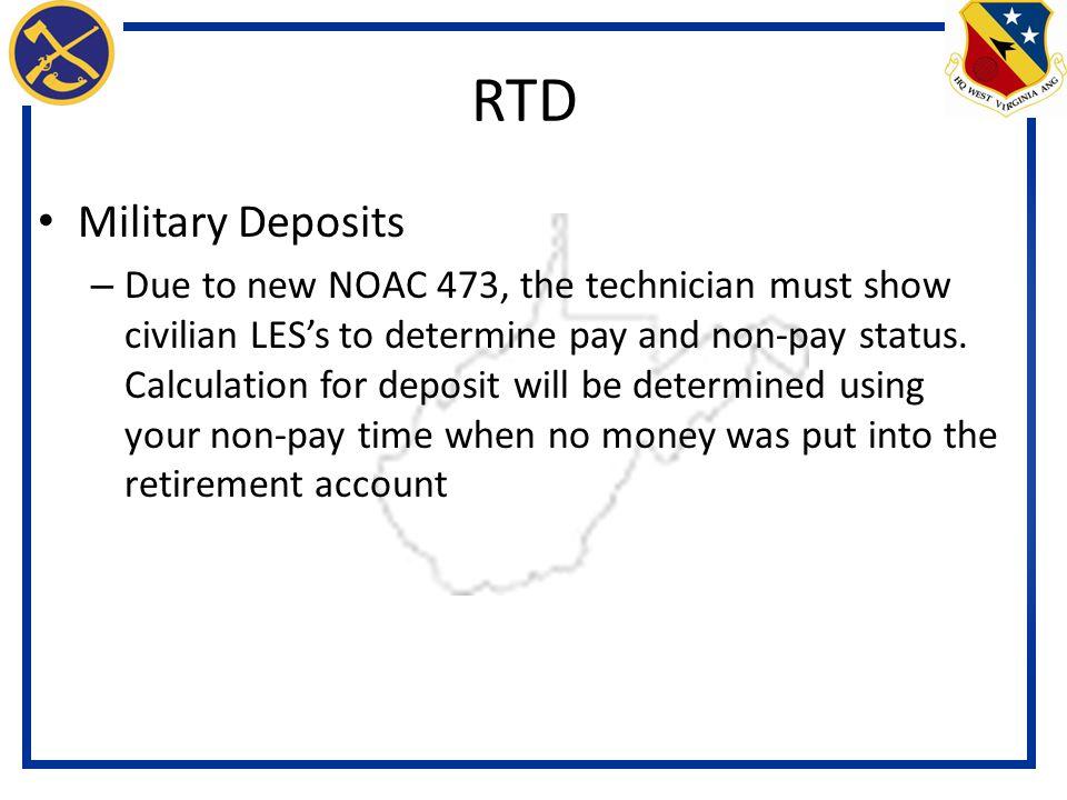 RTD Military Deposits.