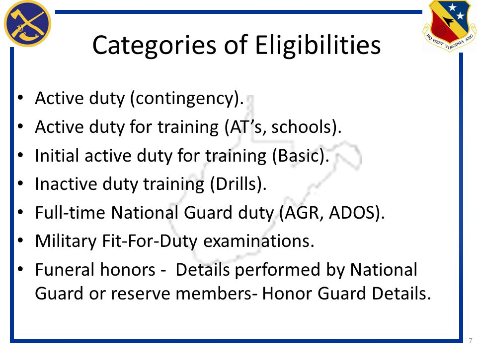 Categories of Eligibilities