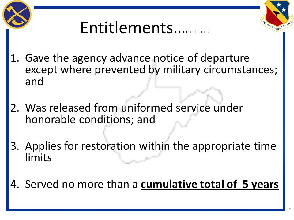 Entitlements…continued