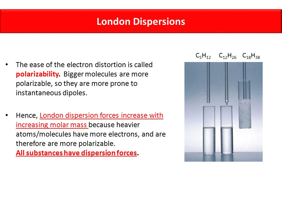 London Dispersions C5H12. C12H26. C18H38.