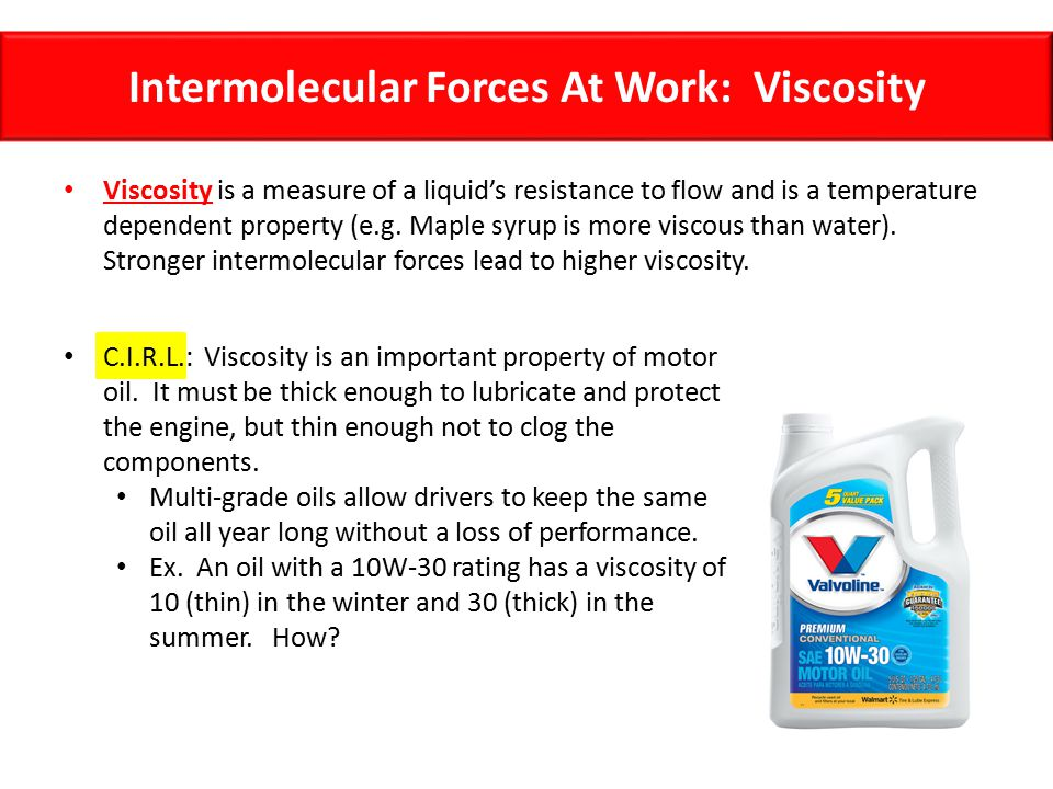 Intermolecular Forces At Work: Viscosity
