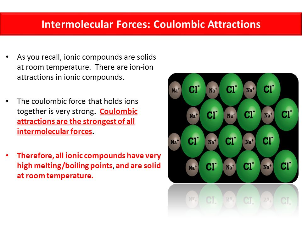 Intermolecular Forces: Coulombic Attractions