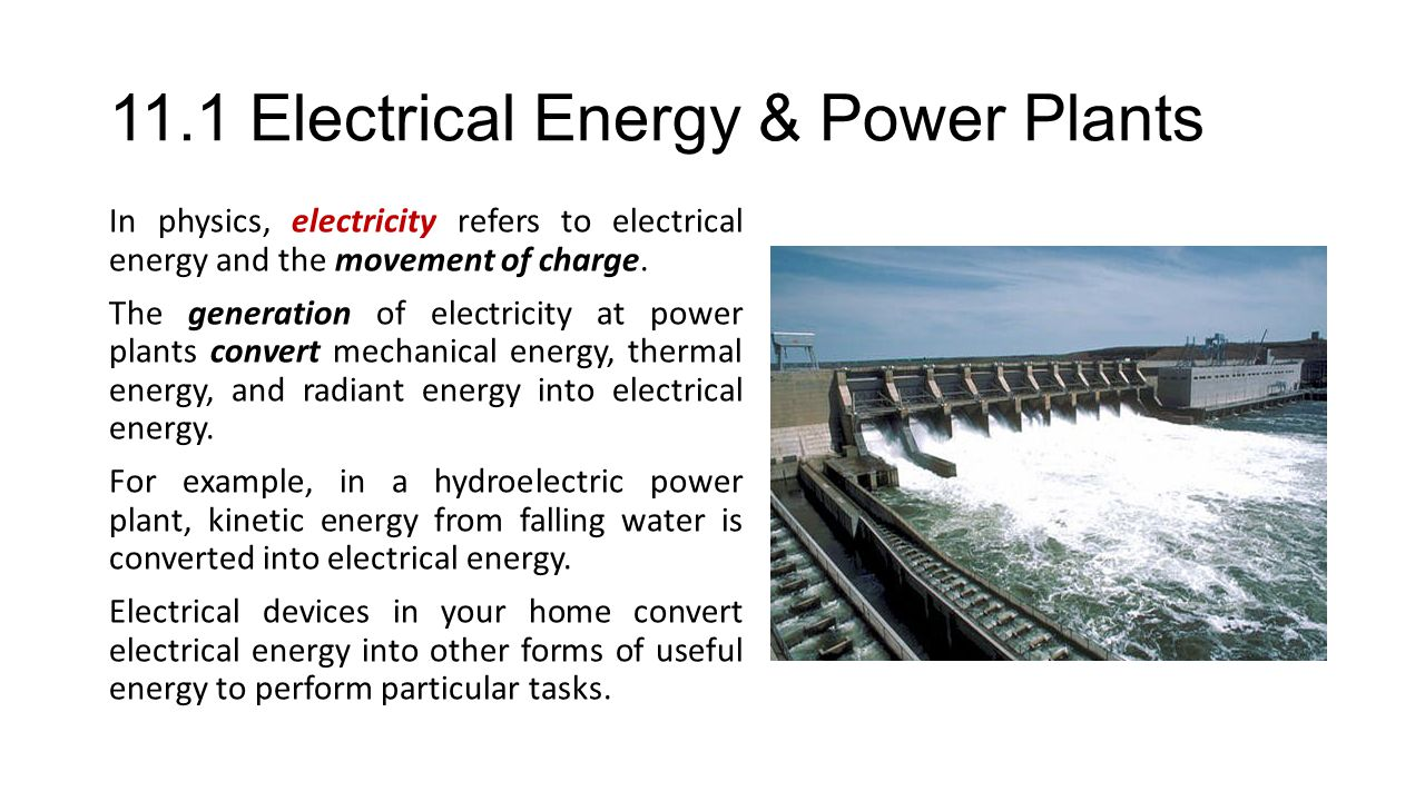 11.1 Electrical Energy & Power Plants