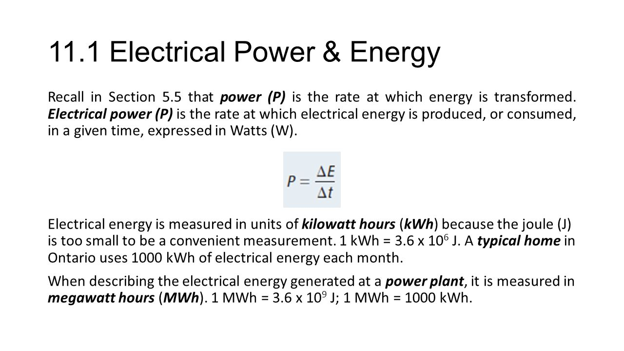 11.1 Electrical Power & Energy