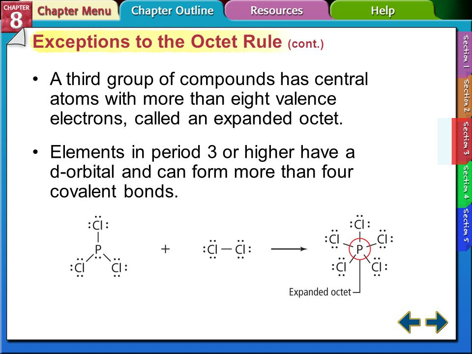 Exceptions to the Octet Rule (cont.)