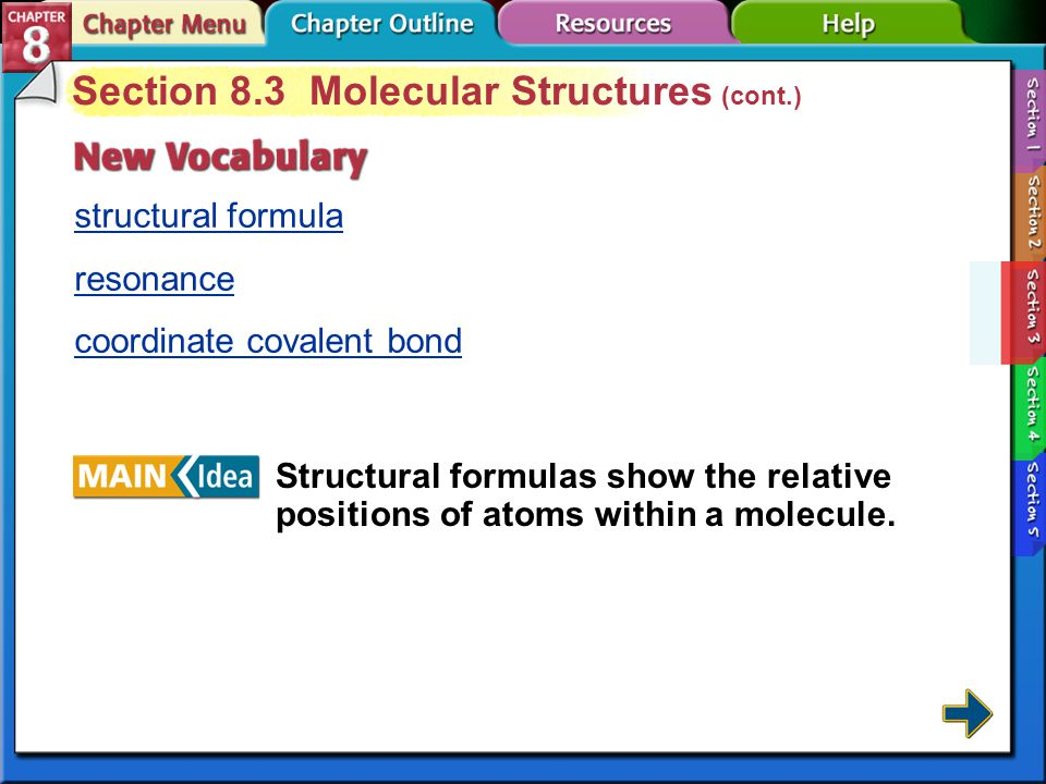 Section 8.3 Molecular Structures (cont.)