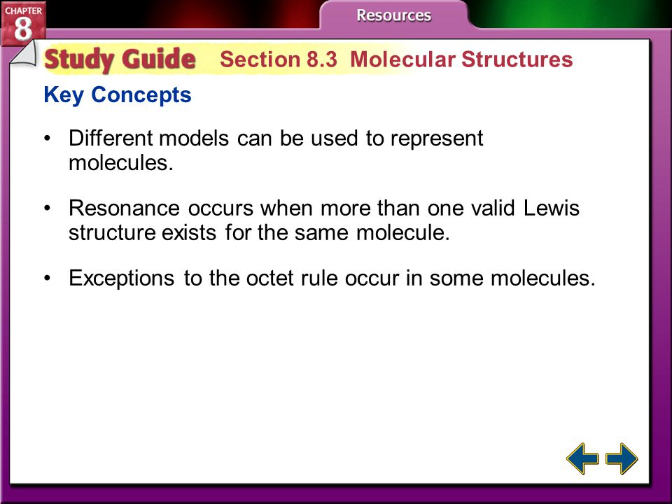 Section 8.3 Molecular Structures