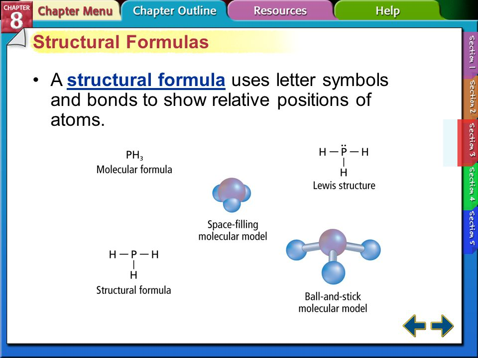 Structural Formulas A structural formula uses letter symbols and bonds to show relative positions of atoms.