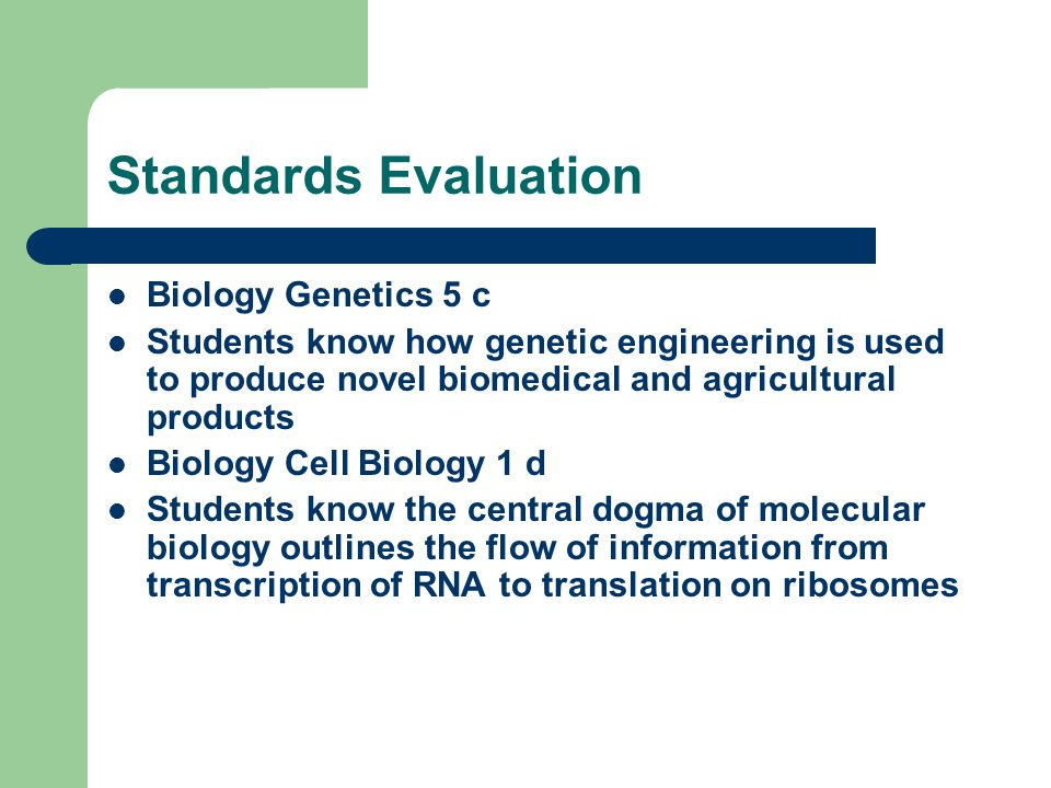 Standards Evaluation Biology Genetics 5 c