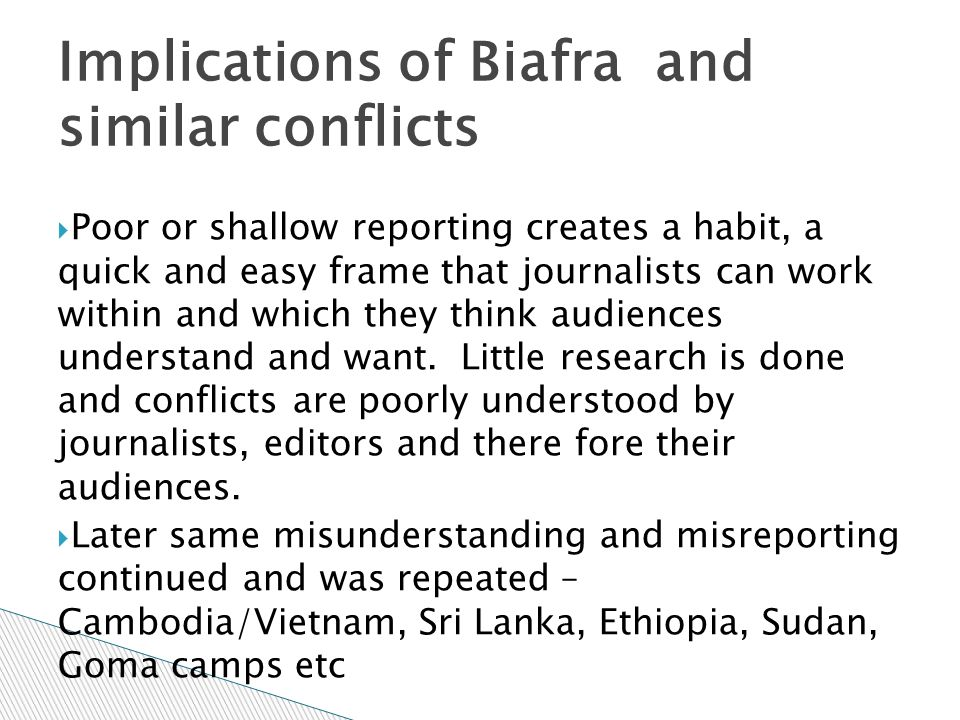 Implications of Biafra and similar conflicts