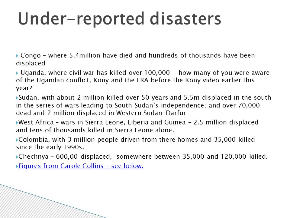 Under-reported disasters