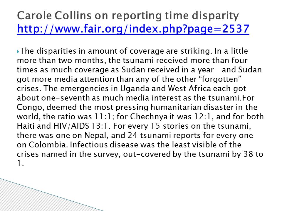 Carole Collins on reporting time disparity http://www. fair. org/index
