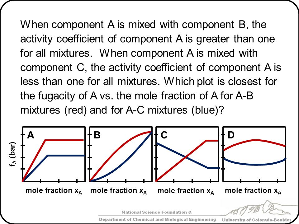 When component A is mixed with component B, the activity coefficient of component A is greater than one for all mixtures. When component A is mixed with component C, the activity coefficient of component A is less than one for all mixtures. Which plot is closest for the fugacity of A vs. the mole fraction of A for A-B mixtures (red) and for A-C mixtures (blue)