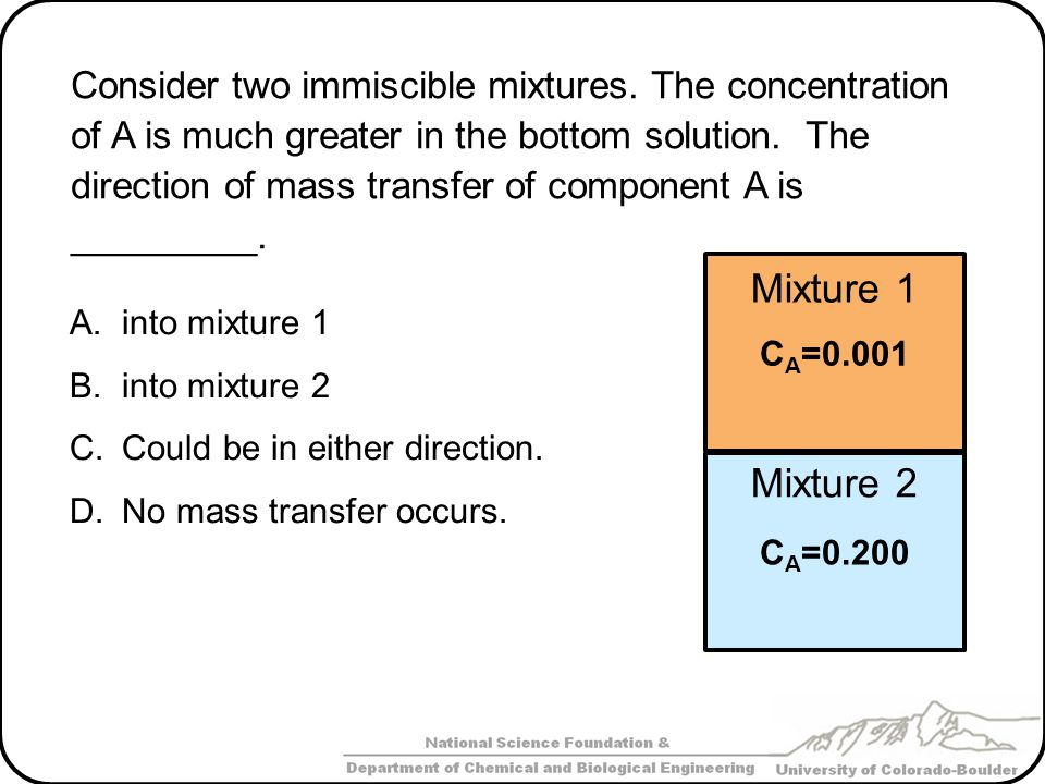 Consider two immiscible mixtures
