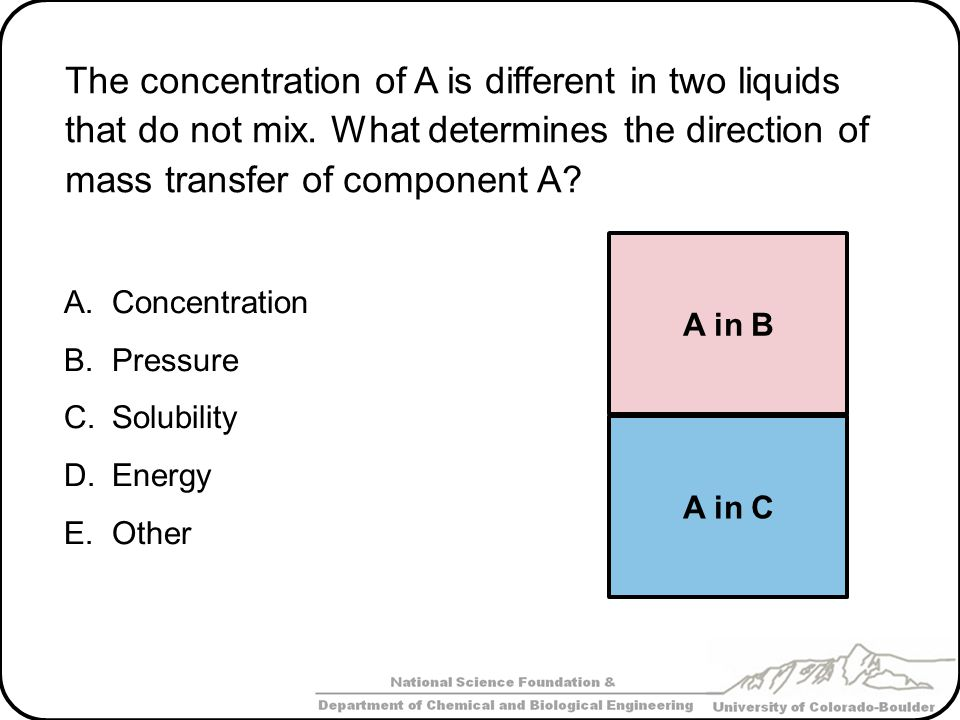 The concentration of A is different in two liquids that do not mix