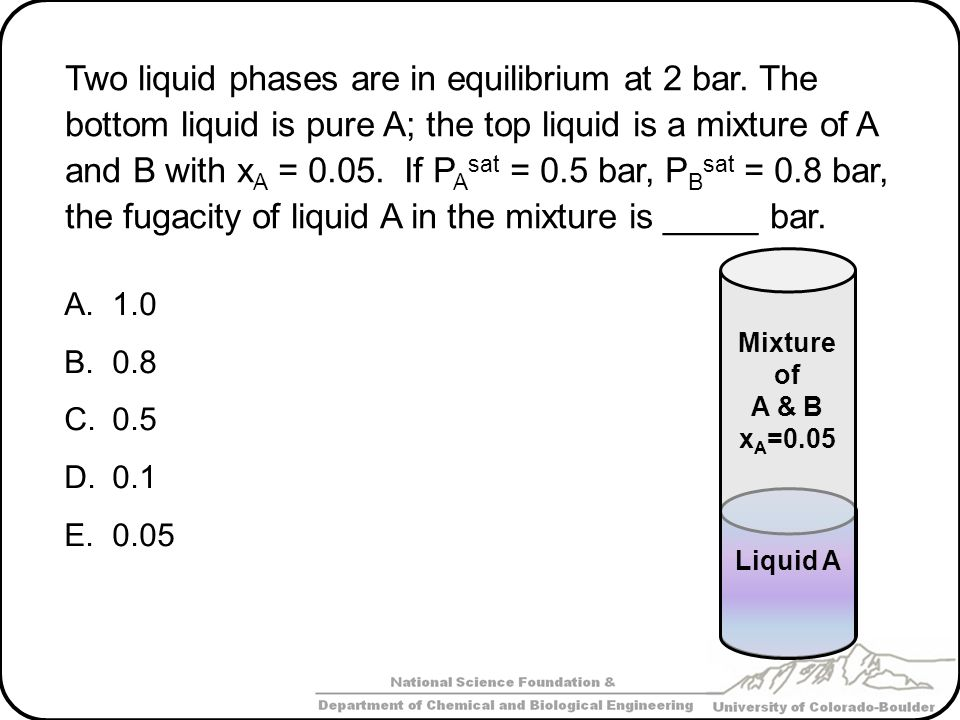 Two liquid phases are in equilibrium at 2 bar