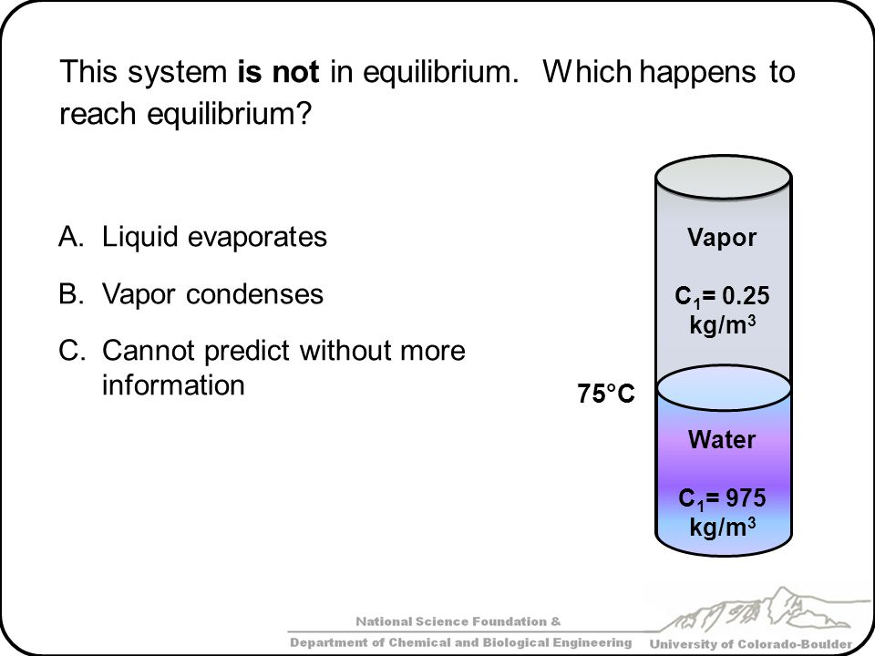 This system is not in equilibrium. Which happens to reach equilibrium