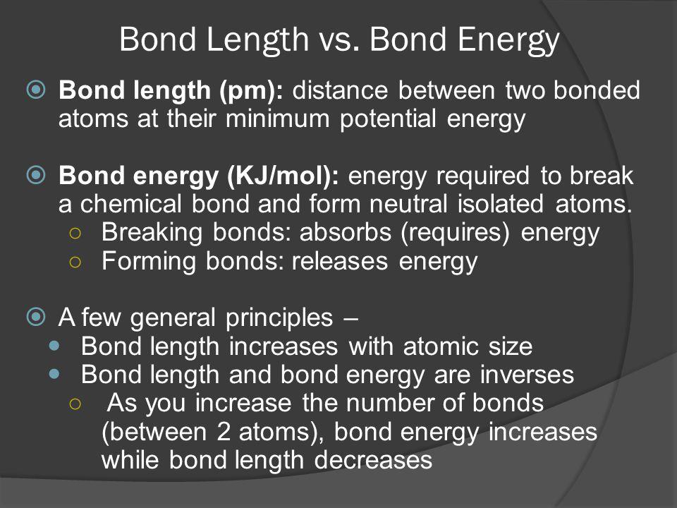 Bond Length vs. Bond Energy