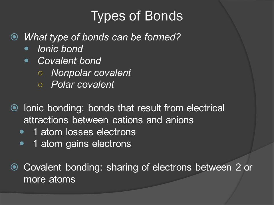 Types of Bonds What type of bonds can be formed Ionic bond