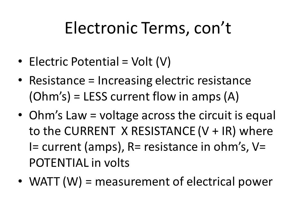 Electronic Terms, con't