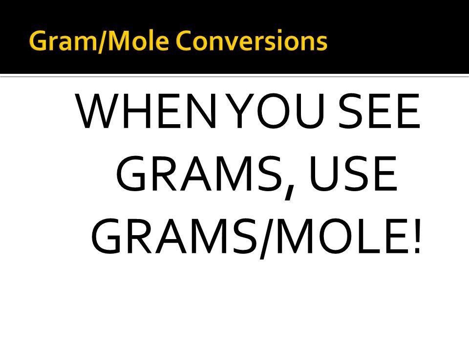 Gram/Mole Conversions