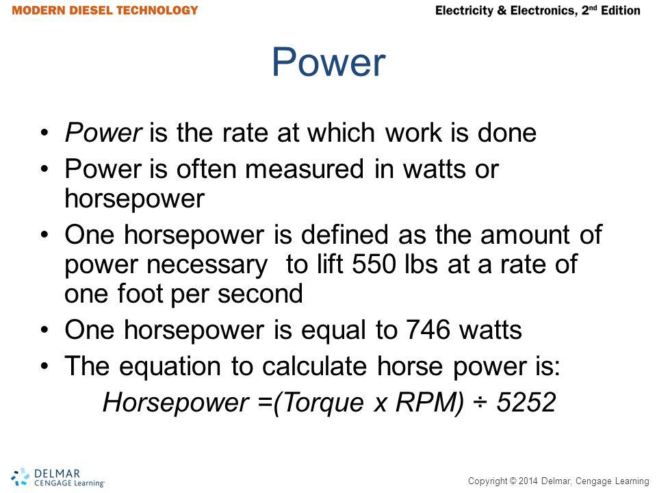 Horsepower =(Torque x RPM) ÷ 5252