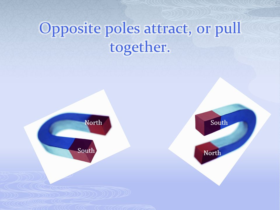 Opposite poles attract, or pull together.
