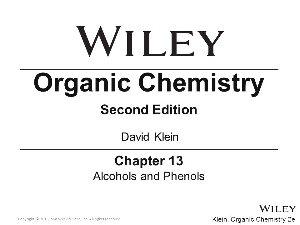 Organic Chemistry Second Edition Chapter 13 David Klein