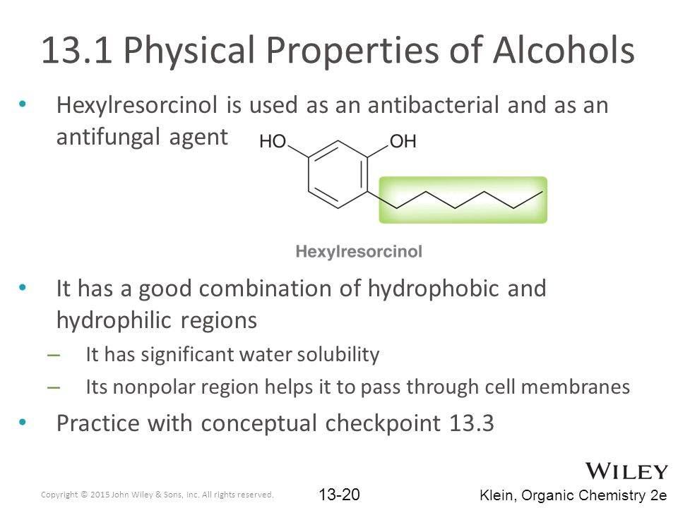 13.1 Physical Properties of Alcohols