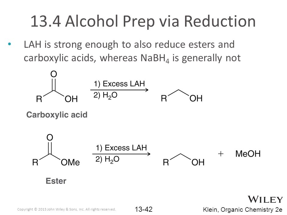 13.4 Alcohol Prep via Reduction