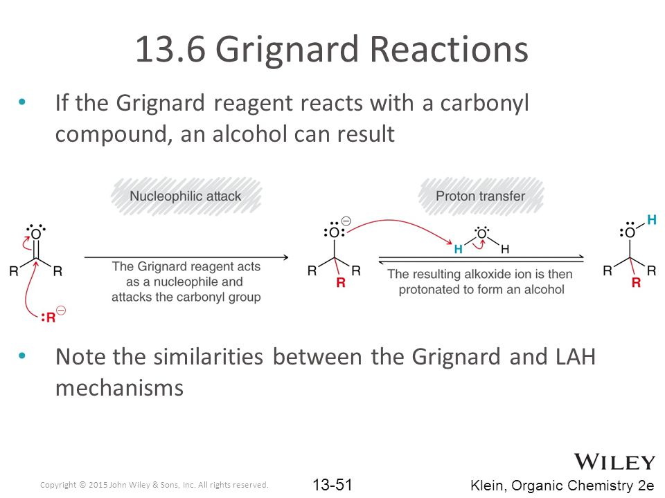 13.6 Grignard Reactions If the Grignard reagent reacts with a carbonyl compound, an alcohol can result.