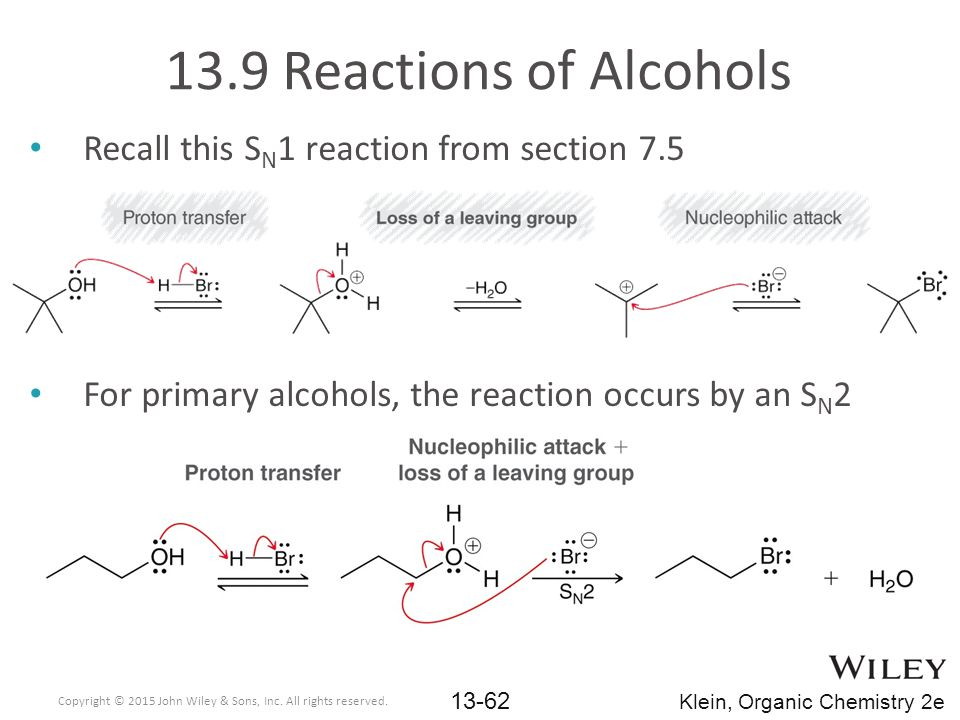 13.9 Reactions of Alcohols Recall this SN1 reaction from section 7.5