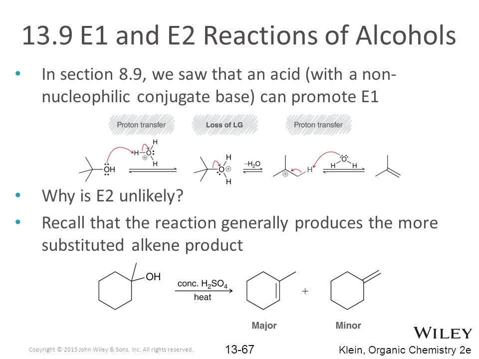 13.9 E1 and E2 Reactions of Alcohols