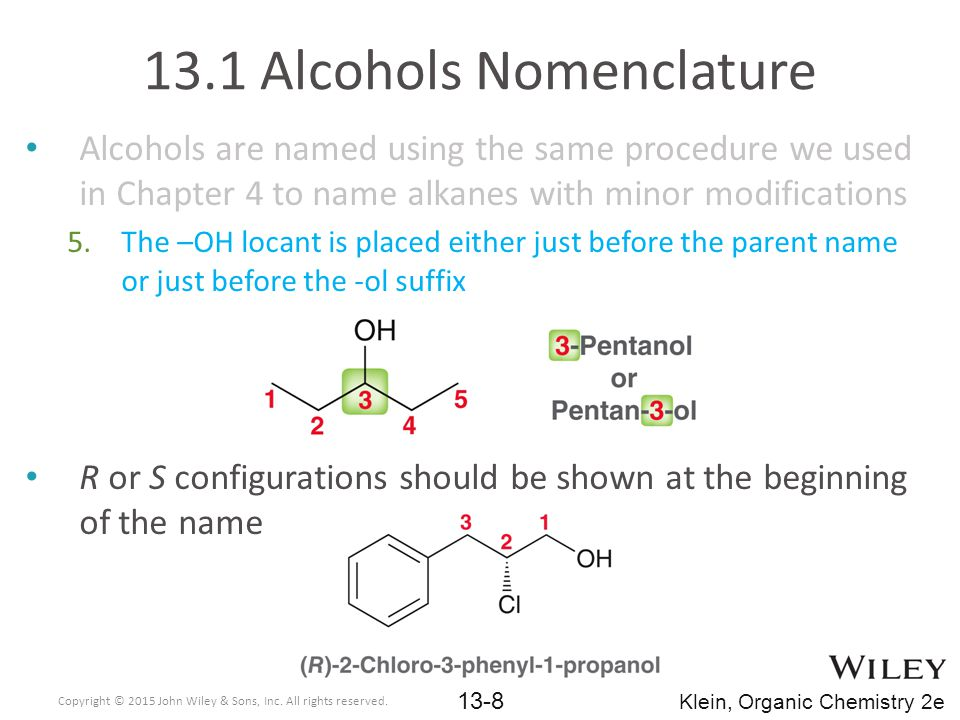 13.1 Alcohols Nomenclature
