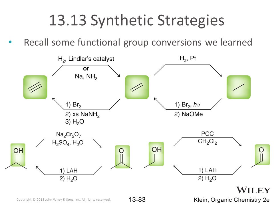 13.13 Synthetic Strategies Recall some functional group conversions we learned. Copyright © 2015 John Wiley & Sons, Inc. All rights reserved.