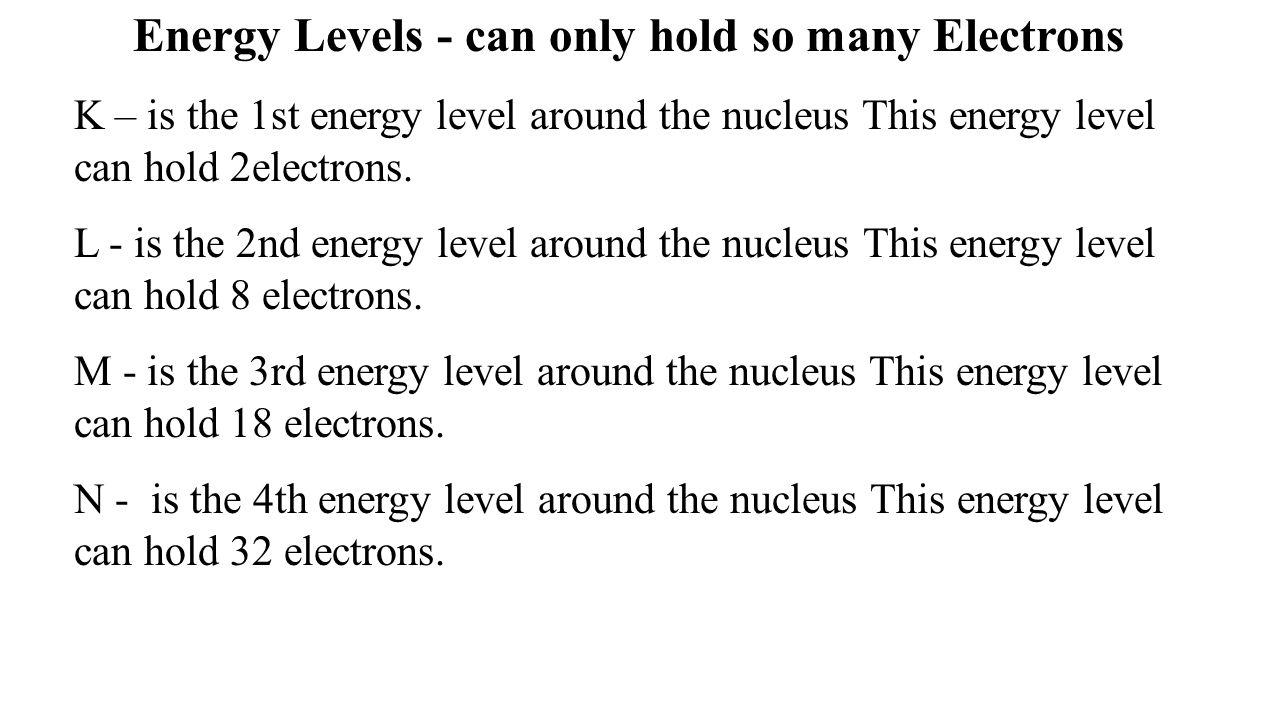 Energy Levels - can only hold so many Electrons