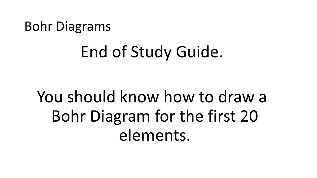 Bohr Diagrams End of Study Guide.