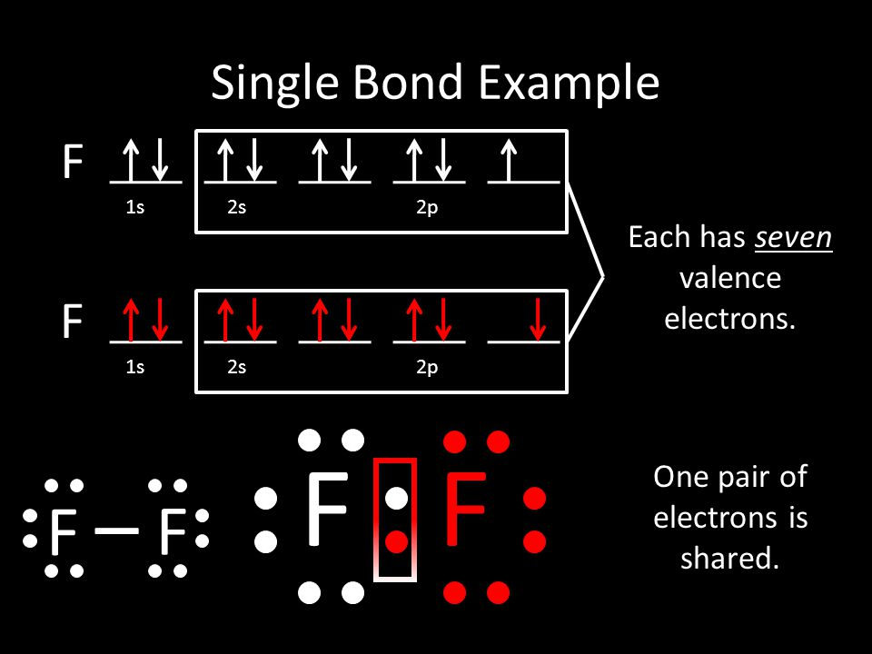 F F F F Single Bond Example F F Each has seven valence electrons.