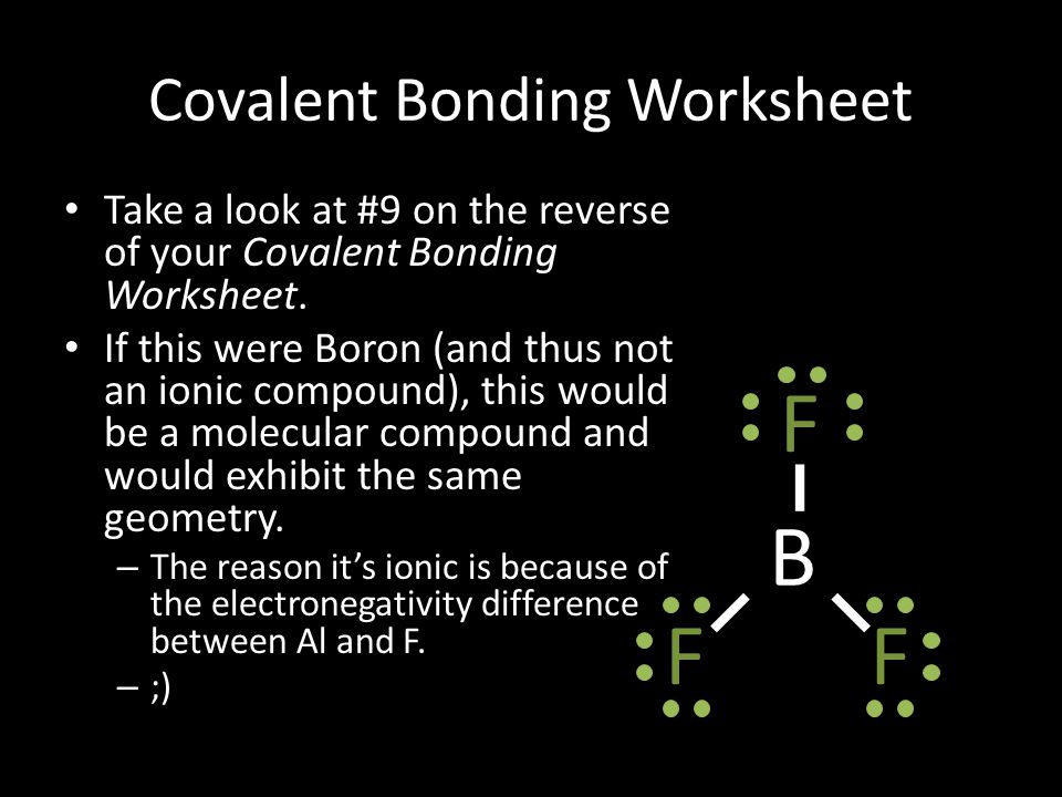 Covalent Bonding Worksheet